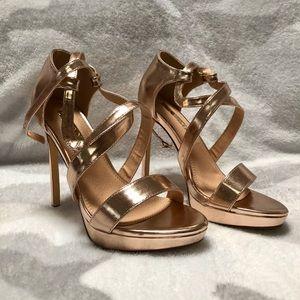 New Rose gold platform strappy Heel